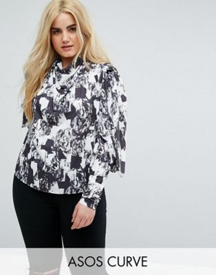 ASOS CURVE Top with Clean Cold Shoulder in Mono Print
