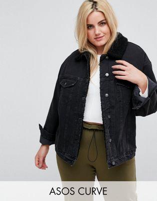 ASOS CURVE - Veste en jean avec col en imitation peau de mouton - Noir délavé