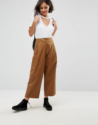 ASOS DAPHNE Casual Cropped Trousers with Zip Detail in Tan