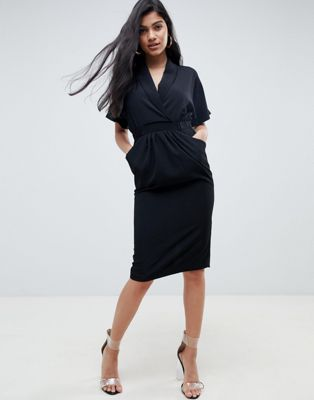 ASOS DEISGN collar wrap midi dress with pockets