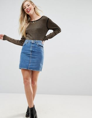 ASOS Denim Original High Waisted Skirt in Midwash Blue
