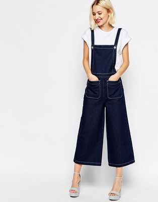 Image 1 of ASOS Denim Overall with Wide Leg and Contrast Stitching