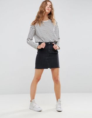 ASOS Denim Pelmet Skirt in Washed Black
