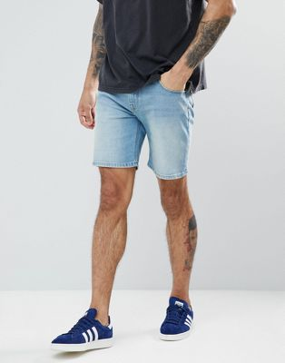 ASOS Denim Shorts In Skinny Light Wash With Abrasions