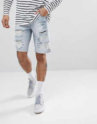 ASOS Denim Shorts In Slim light Wash With Heavy Rips