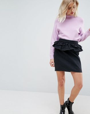 ASOS Denim Skirt in Washed Black With Peplum