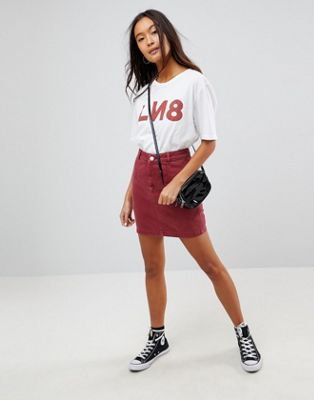 ASOS Denim Skirt With Waist Seam Detail in Raspberry