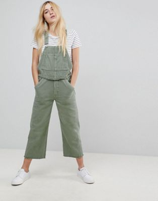 ASOS Denim Utility Dungaree in Khaki