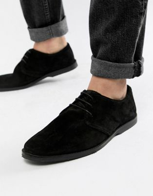 ASOS Derby Shoes In Black Suede With Piped Edging