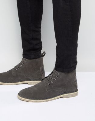 ASOS Desert Boots In Grey Suede With Leather Detail