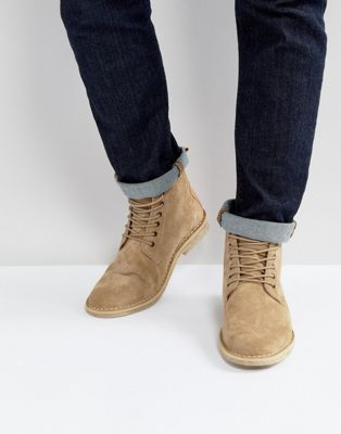 ASOS Desert Boots In Stone Suede With Leather Detail