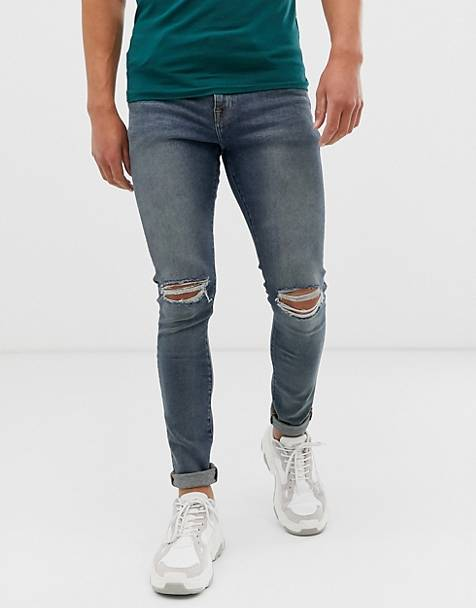 ASOS DESIGN 12.5oz super skinny jeans in mid wash blue with busted knees and bum rip