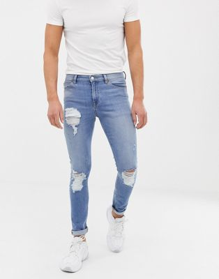 ASOS DESIGN 12.5oz super skinny jeans in vintage light wash with heavy rips