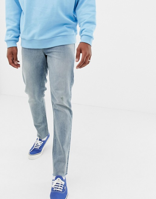 Image 1 of ASOS DESIGN 140z heavy weight slim jeans in vintage light wash with abrasions