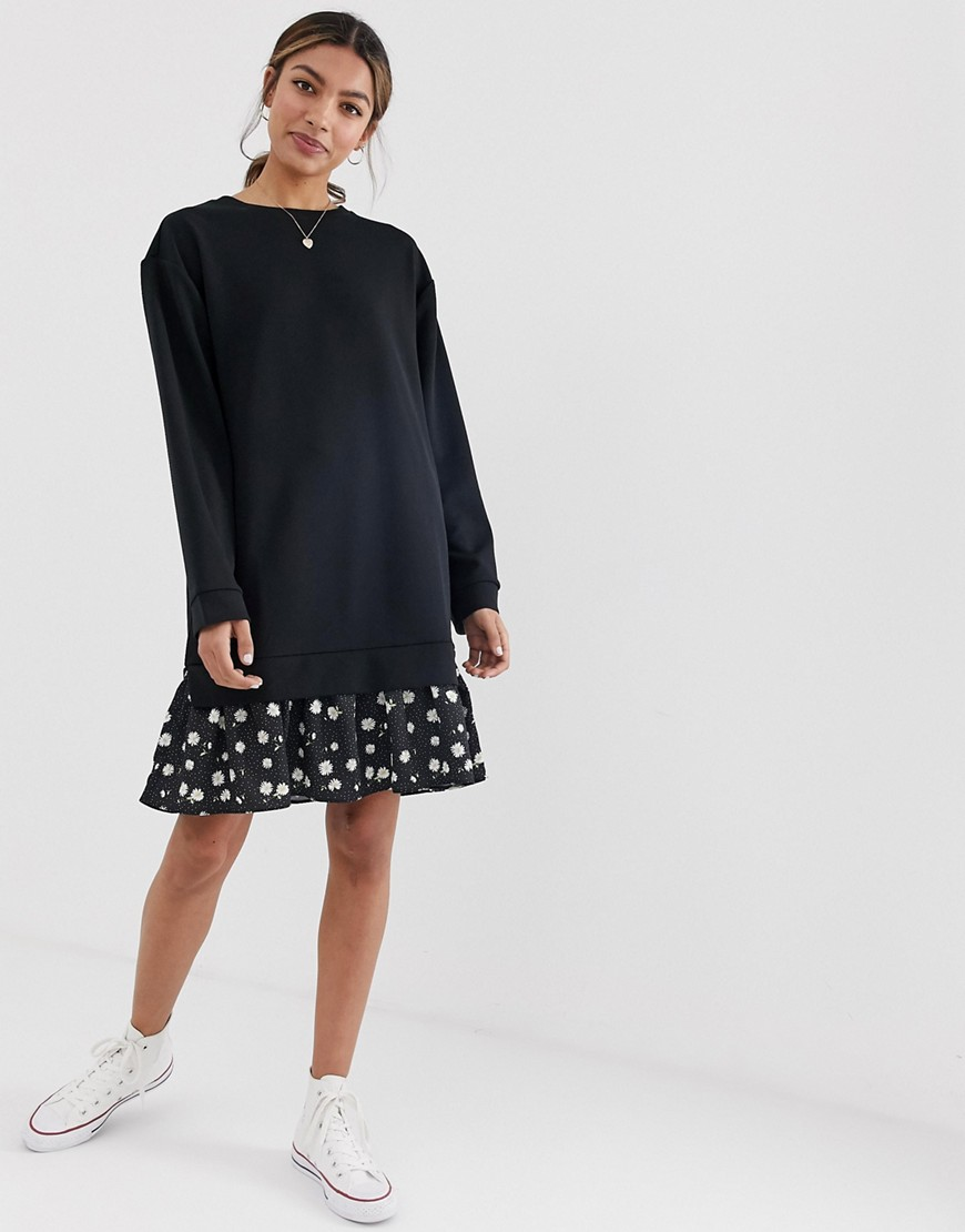 Asos Design 2 In 1 Sweat Dress With Daisy Print Hem by Asos Design