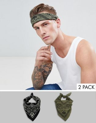 ASOS DESIGN 2 pack bandana in black paisley and khaki paisley