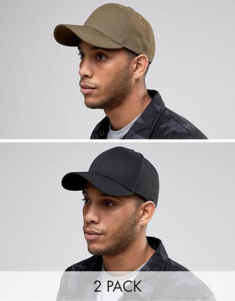 ASOS DESIGN 2 pack baseball cap in black and khaki save 52d66e2a9bb