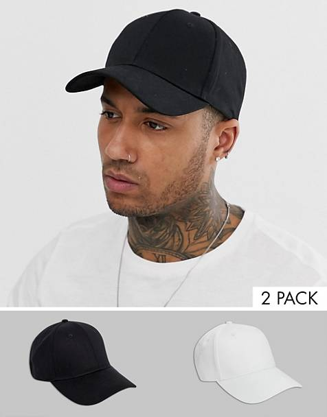 ASOS DESIGN 2 pack baseball cap in black and white save