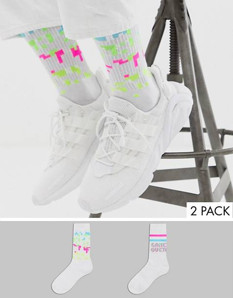 ASOS DESIGN 2 pack game over print sport sock save