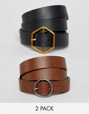 ASOS DESIGN 2 pack hexagon and circle buckle waist and hip belts