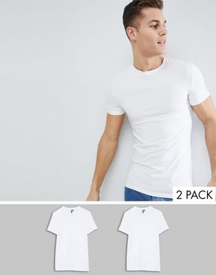 ASOS DESIGN 2 Pack Muscle Fit T-Shirt In White With Crew Neck Save