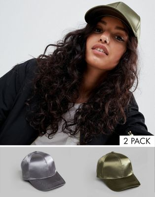 ASOS DESIGN 2 Pack Satin Baseball Cap