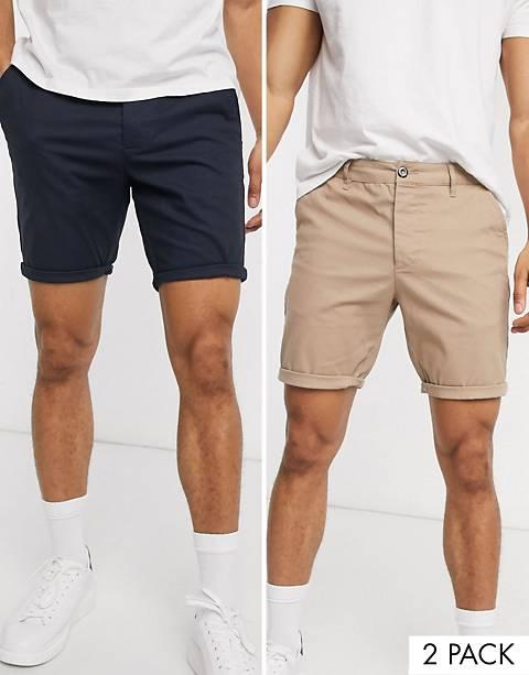 ASOS DESIGN 2 pack skinny chino shorts in stone & navy save
