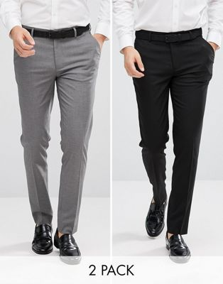 ASOS DESIGN 2 pack skinny smart pants in black and grey SAVE