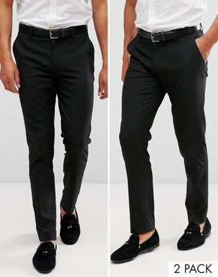 ASOS DESIGN 2 pack skinny smart pants in black SAVE