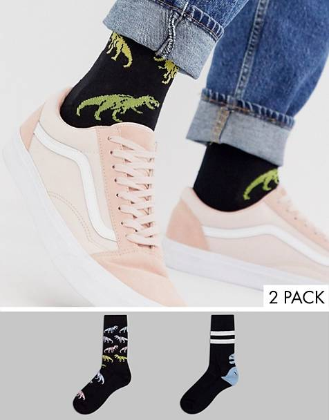 ASOS DESIGN 2 pack sport sock with ombre dinosaur design save