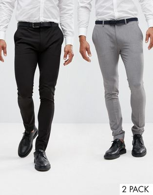 ASOS DESIGN 2 pack super skinny pants in black and grey SAVE