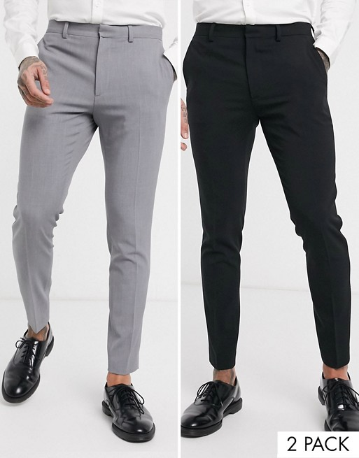 ASOS DESIGN 2 Pack super skinny trousers in black and grey SAVE