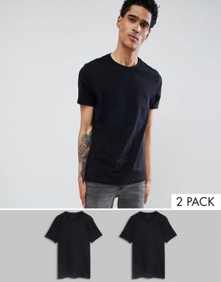 ASOS DESIGN 2 pack t-shirt with crew neck save