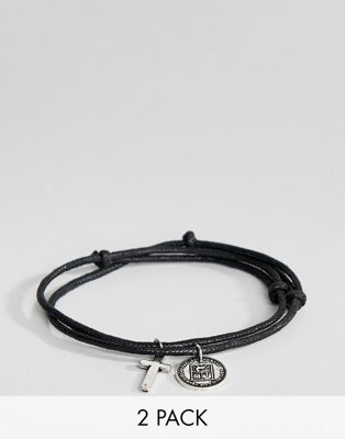 ASOS DESIGN 2 pack woven bracelets with cross and coin