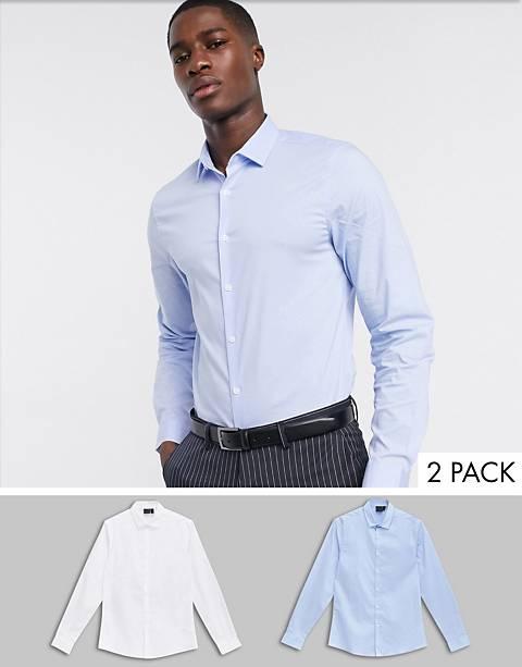 ASOS DESIGN – 2er Pack schmal geschnittene Hemden in Weiß und Blau, spare
