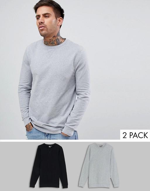 ASOS DESIGN 2er-Set Muskel-Sweatshirts in Schwarz/Khaki schwarz/graumeliert