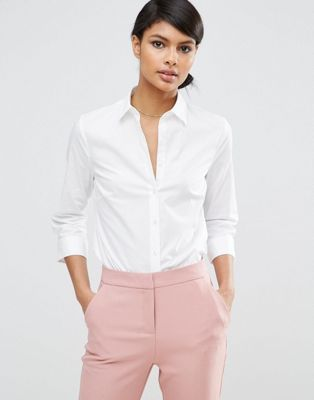ASOS DESIGN 3/4 sleeve shirt in stretch cotton