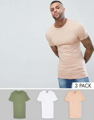 ASOS DESIGN 3 pack longline muscle fit t-shirt with crew neck save