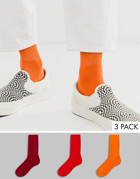 ASOS DESIGN 3 pack sport sock in red tones save