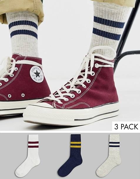 ASOS DESIGN 3 pack sports socks in varsity colors with nep save