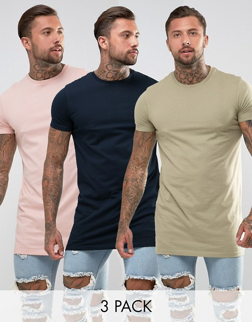 ASOS DESIGN 3 pack super longline t-shirt with crew neck save