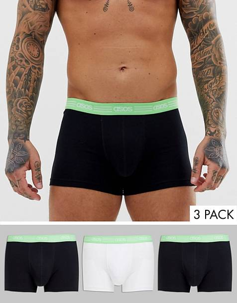 ASOS DESIGN 3 pack trunks in black and white with mint green branded waist band save