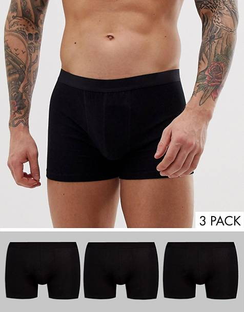 ASOS DESIGN 3 pack trunks in black organic cotton save