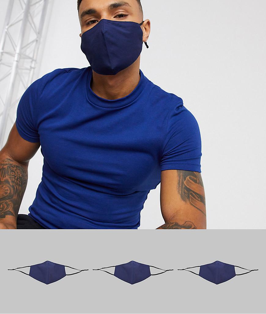 ASOS DESIGN - 3-pak masker med justerbare stropper og næseklemme i mørkeblå-Marineblå