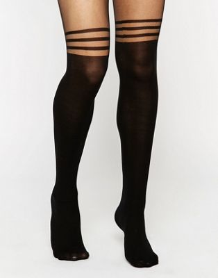Image 1 of ASOS DESIGN 3 stripe over the knee tights with support