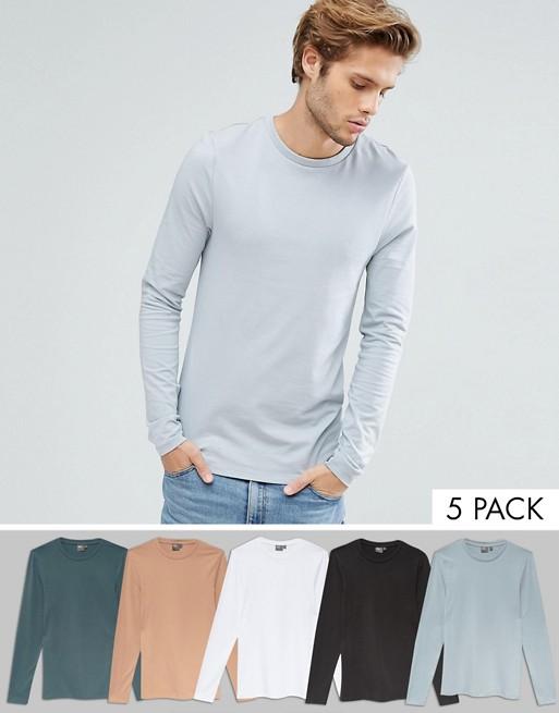 ASOS DESIGN – 5-pack långärmade t-shirtar i extreme muscle fit – Spara