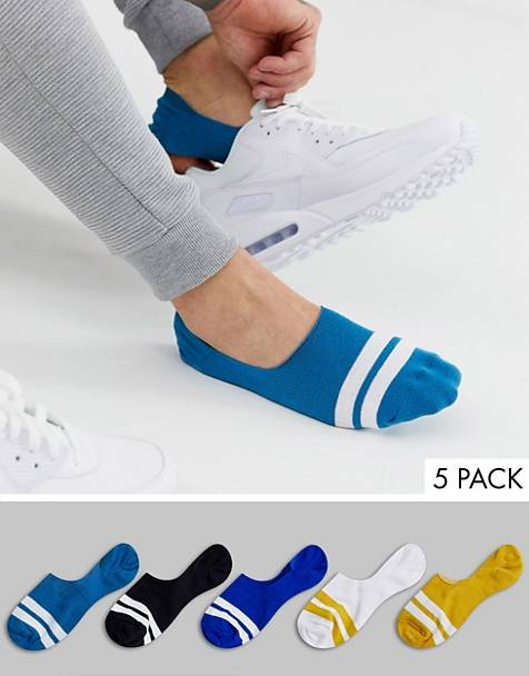 ASOS DESIGN 5 pack no show sock with stripes in design colors save