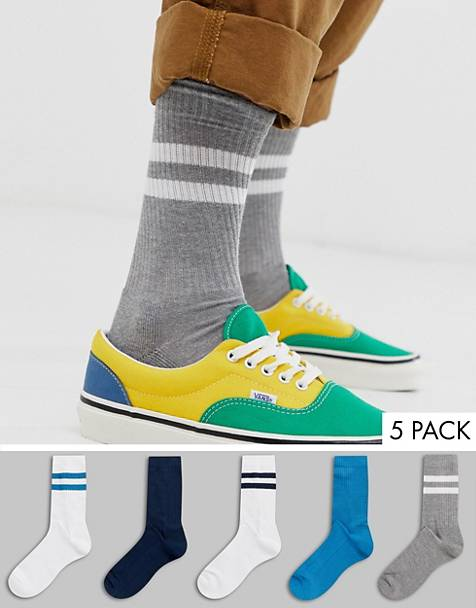 ASOS DESIGN 5 pack sport sock in green and blue tones save