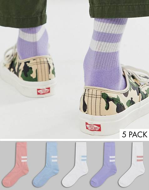 ASOS DESIGN 5 pack sport sock in pastels tones with back stripes save