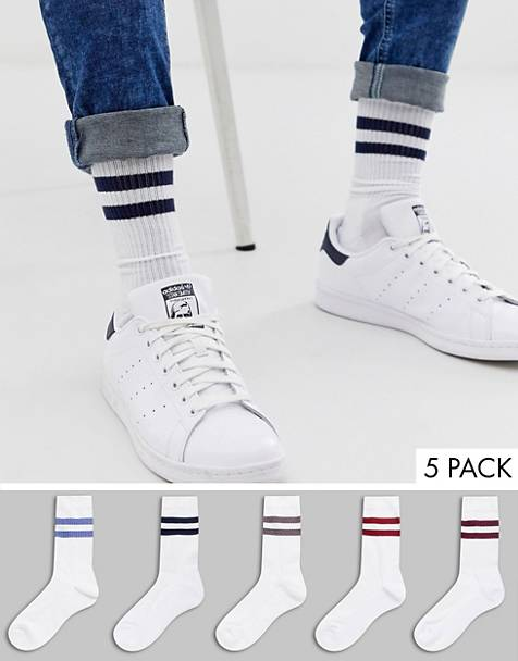 ASOS DESIGN 5 pack sport sock with neppy detail stripe save